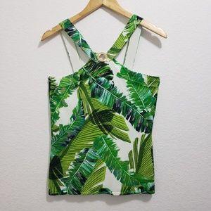Cache Green Rainforest Halter Top Size Large